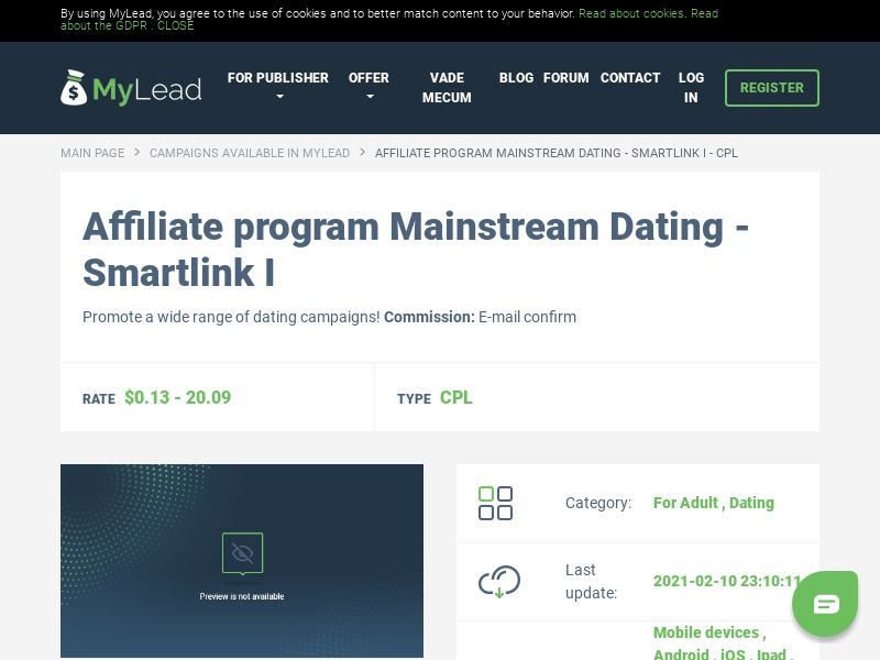 Mainstream Dating - Smartlink I (MultiGeo), [CPL], For Adult, Dating, Single Opt-In, Double Opt-In, Email Submit, women, date, sex, sexy, tinder, flirt