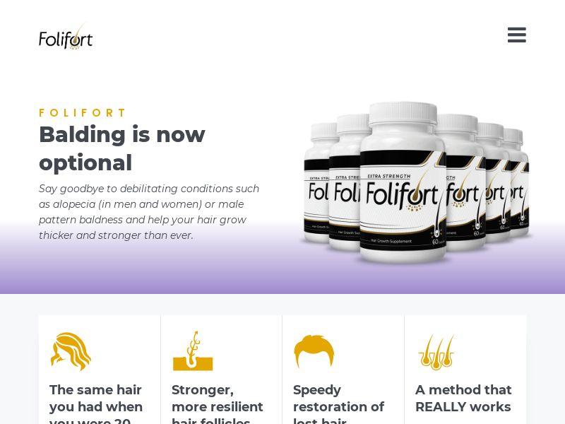 Folifort - Hair Restoration [US,UK,AU,CA,FR,DE+] (Email,Social,Banner,Native,Push,SEO,Search) - CPA