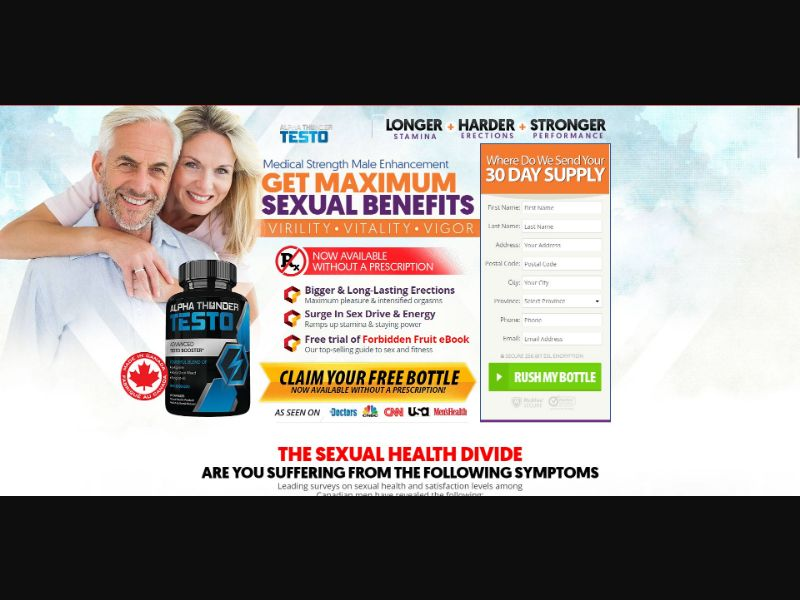 Alpha Thunder Testo - Male Enhancement - Trial - [CA] - with 1-Click Upsell [Step1 $29.25 / Upsell $27.95]