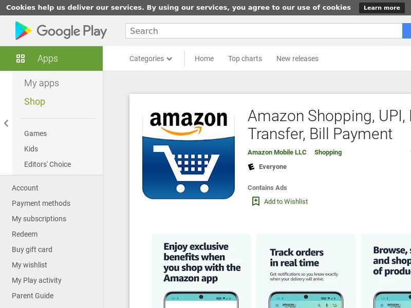 Amazon Shopping, UPI, Money Transfer, Bill Payment AND IN GAID