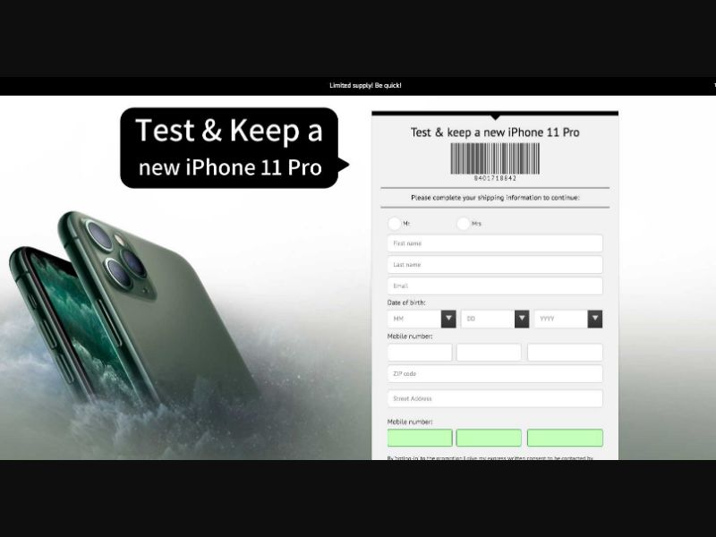 iPhone 11 Pro - US (US), [CPL], Lotteries and Contests, Single Opt-In, paypal, survey, gift, gift card, free, amazon