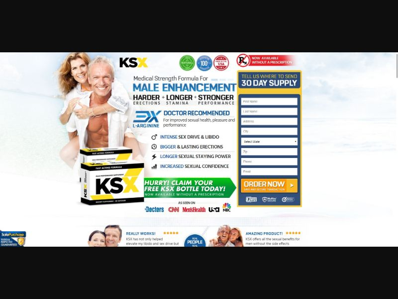 KSX Male Performance Supplement - Male Enhancement - Trial - [US, No California] - with 1-Click Upsell [Step1 $28.90 / Upsell $27.20]