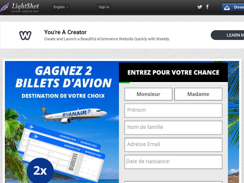 WinGreatProducts Ryan Air (Without Prelander) (Sweepstake) (SOI) - France