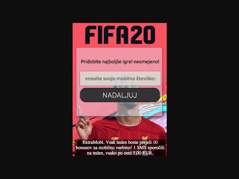 Fifa 2020 - SMS Flow - SI - Online Games - Mobile
