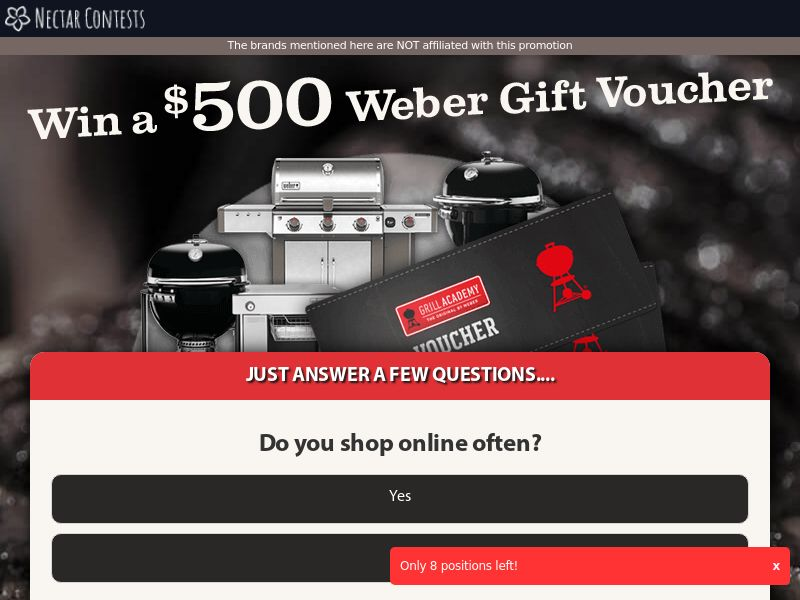 NectarContests - Weber Barbeque Giftcard - AU - CPL - DIRECT