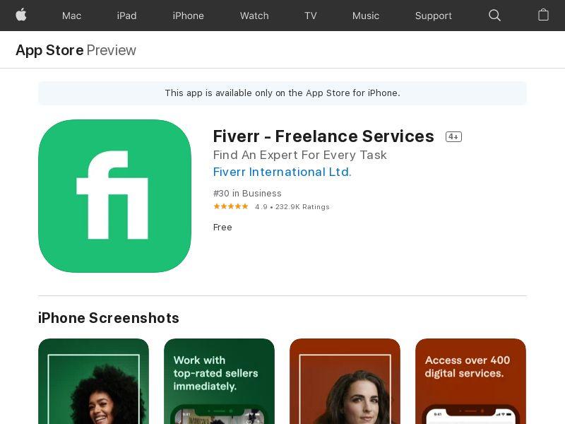 Fiverr | iOS AT CH DK DE NL NO FI SE - CPA