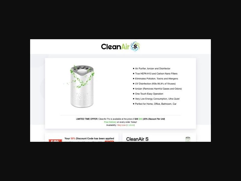 CleanAir S - Air Purifier Ecom Product