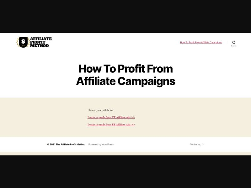 Affiliate Profit Method - $497 CTC - Biz Opp - SS - [All GEOs]