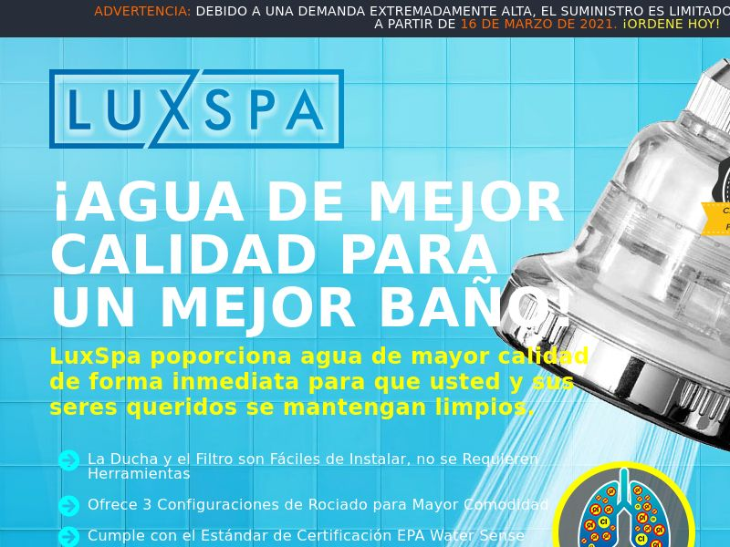 LuxSpa Showerhead (SPANISH) - MX/CO/AR/CL/PE/ES