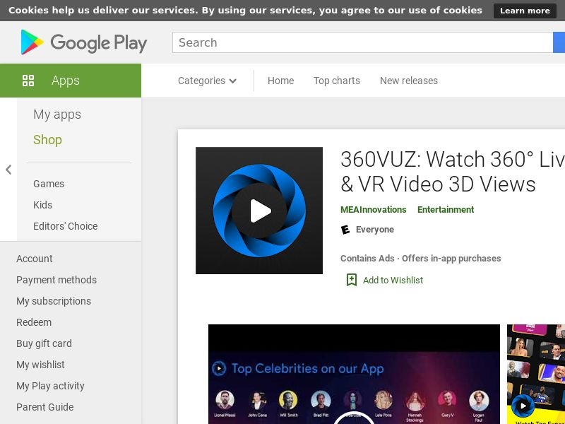 360VUZ - Live Stream 360° VR Video App - Android SA/AE (CPT=subscription/payment sucsessfull)