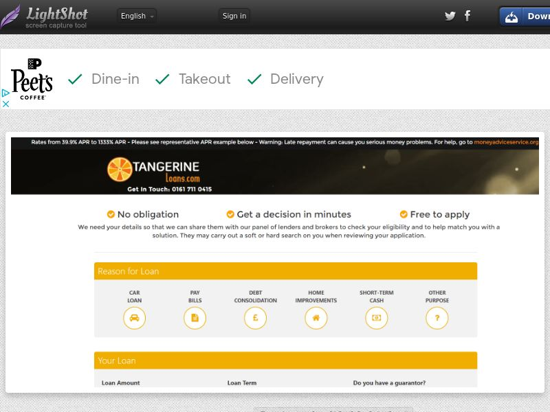 Tangerine Loans (UK) (CPL) (Personal Approval)