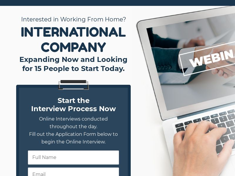 Work From Home Interview - 1st Page Submit   US, CA