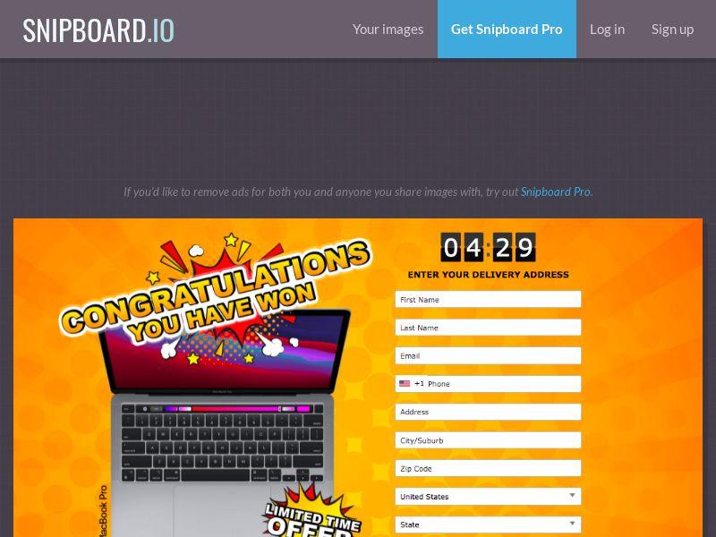 LotsPrizesToday - MacBook Pro (Orange May) US - CC Submit