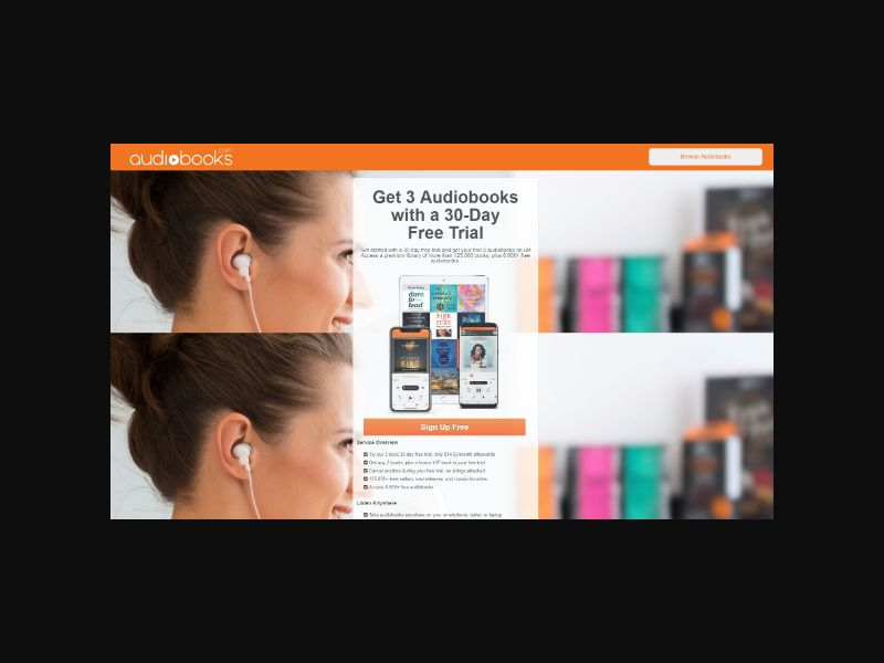 Audiobooks.com - 30 day free trial with 3 audiobooks included (US/CAN)