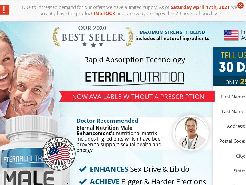 Trial - Eternal Nutrition ME w/ Upsell [US] (Social,Banner,Native,Push,SEO,Search) - CPA
