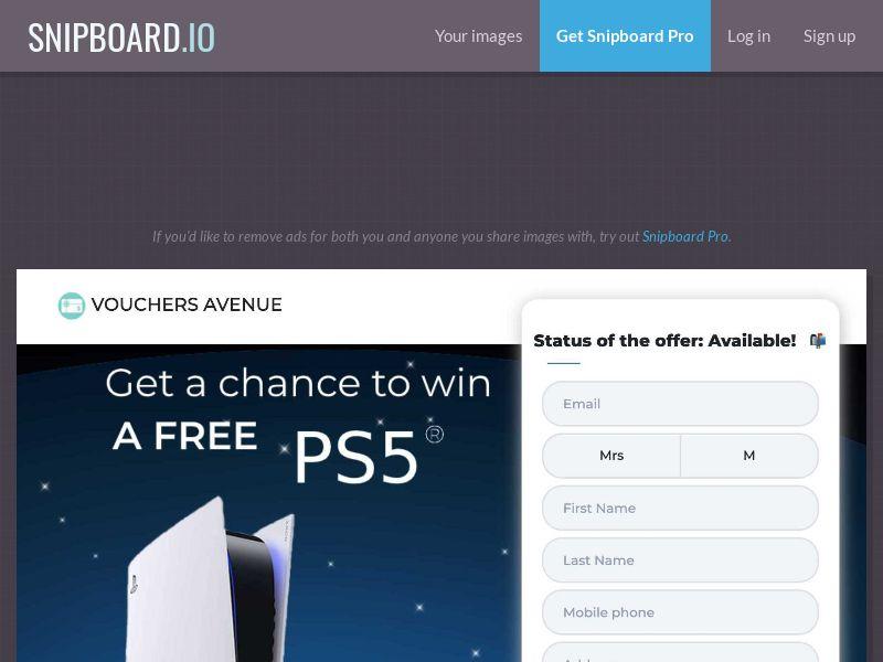 Vouchers Avenue - Playstation 5 PS5 US - SOI