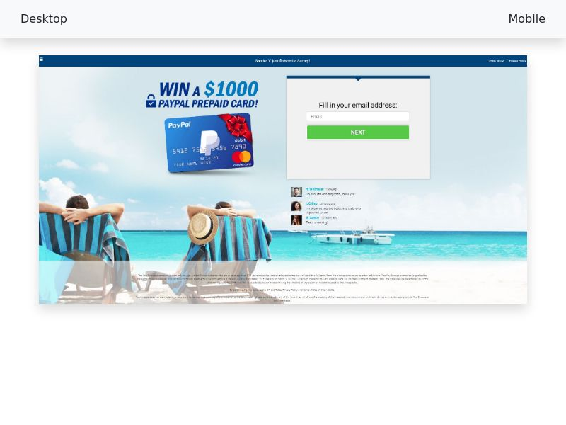 Sweepstake Win a Paypal gift card - CPL SOI - All devices - [US]