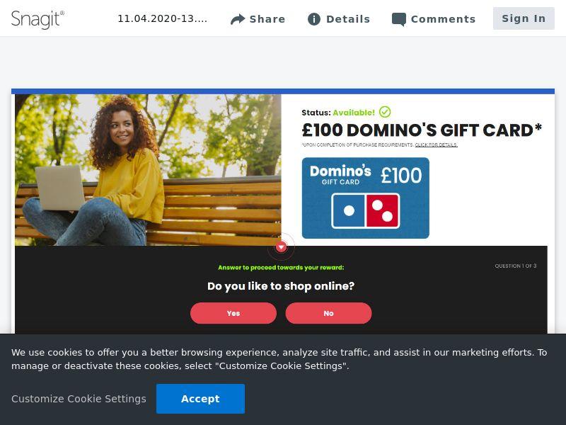 Dominos £100 - SOI   UK