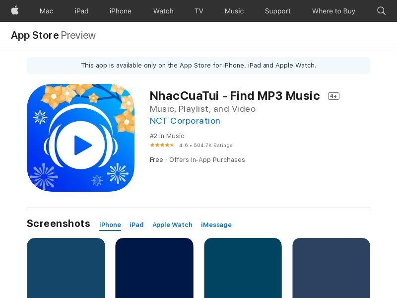 NhacCuaTui – Nghe nhac MP3_VN_ IOS_Non - Incent_CPA (Direct)