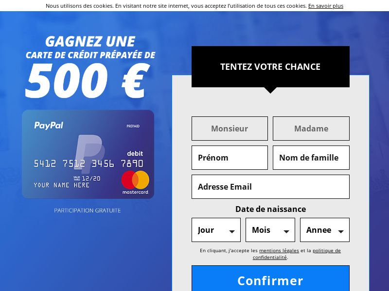 Sweepstake - PayPal 500€ Credit Card - [BE - fr] - 25+