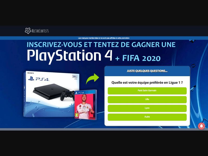 PS4 FIFA 20 - CPL SOI - BE - FR - Sweepstakes - Responsive