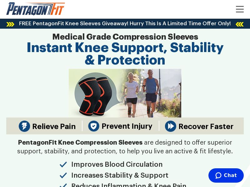 PentagonFit Knee Pain Sleeves [US] (Email,Native,Search,SEO,Social,PPC) - CPA