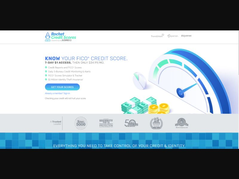 Rocket Credit Scores $1 Trial (CC Submit) - Financial/Credit Score - US