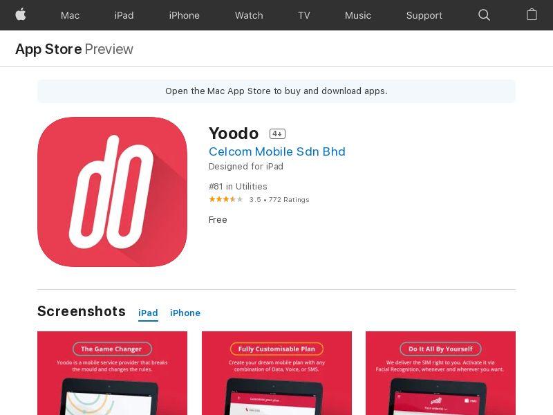 Yoodo iOS MY (CPE=sim activation)