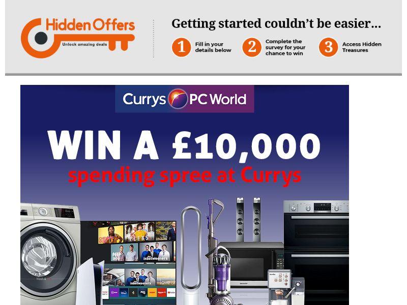 HiddenOffers - Win a £10,000 spending spree at Currys PCWorld SOI CPL [UK]