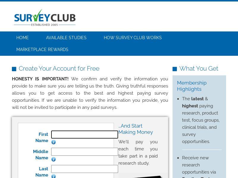 SurveyClub.com (US) (CPL) (Personal Approval)