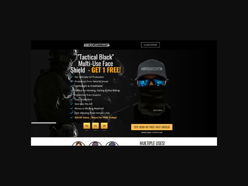 Tactical - FREE Black Face Shield (US)