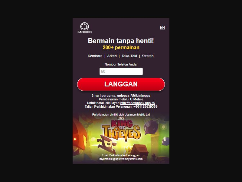 4630 | MY | Pin submit | U Mobile | Mainstream | Games
