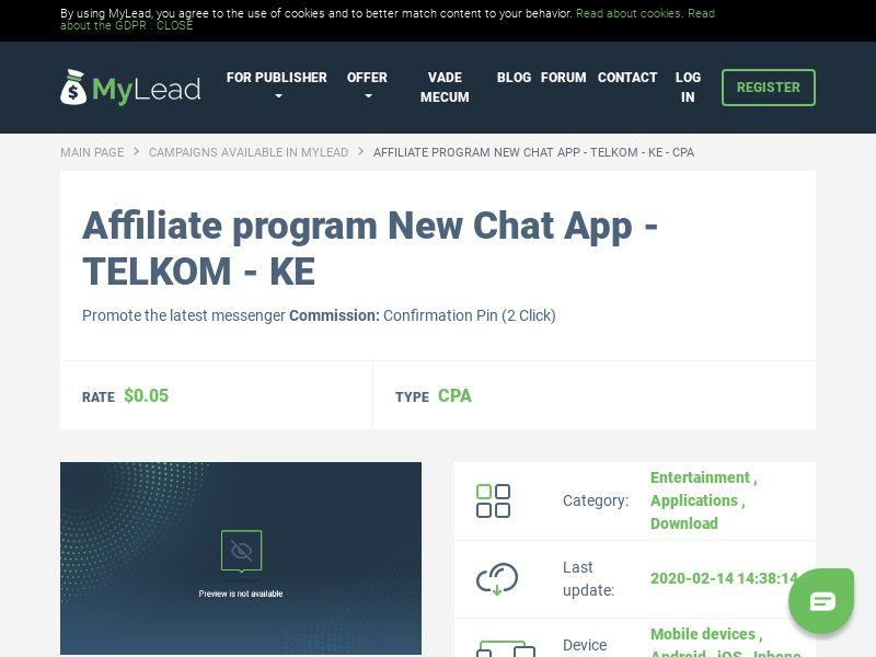 New Chat App - TELKOM - KE (KE), [CPA], Entertainment, Applications, Download, Download, app, mobile, file, files, cpi