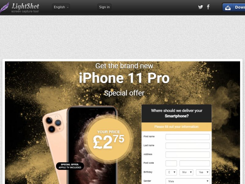 Amordating iPhone 11 Pro Gold (Sweepstake) (CC Trial) - United Kingdom