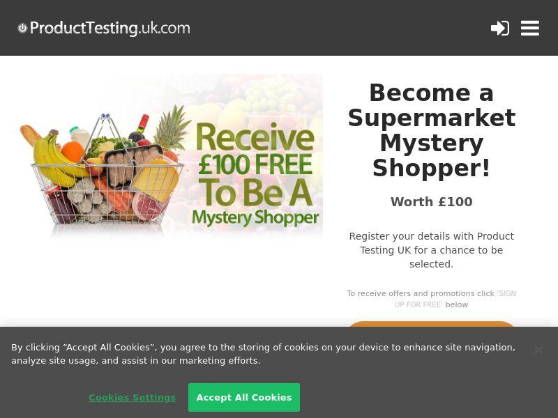 Email Submit - £100 Supermarket Secret Shopper - SOI (UK)
