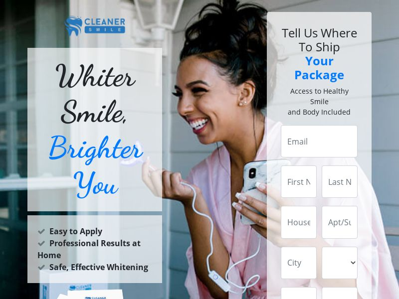 Trial - Cleaner Smile Teeth Whitening [US] (Email,Social,Banner,Native,Push,SEO,Search) - CPA