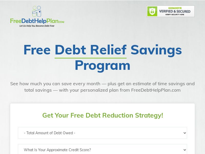 Free Debt Help Plan (M-F Only)