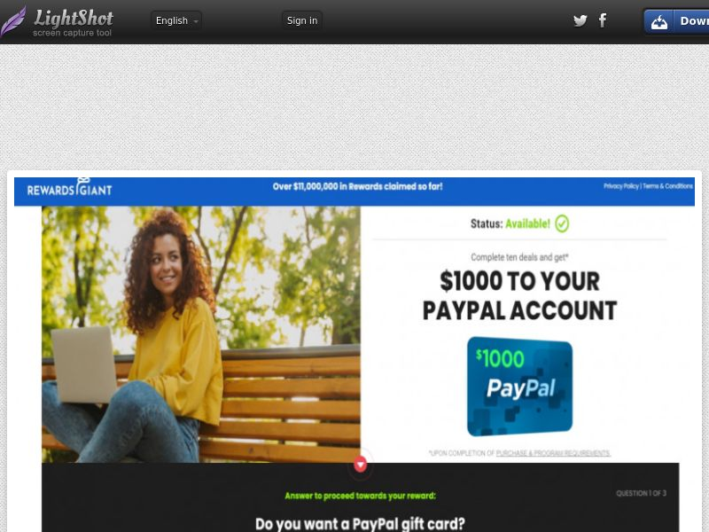 Win Paypal Giftcard (US) (CPL) (Personal Approval)