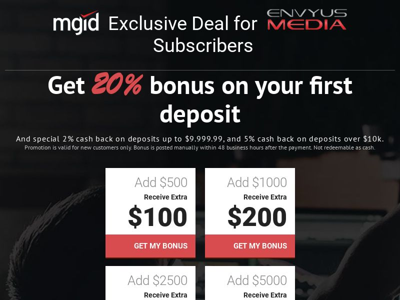 MGID - Referrals - Cash Back for Traffic Spend