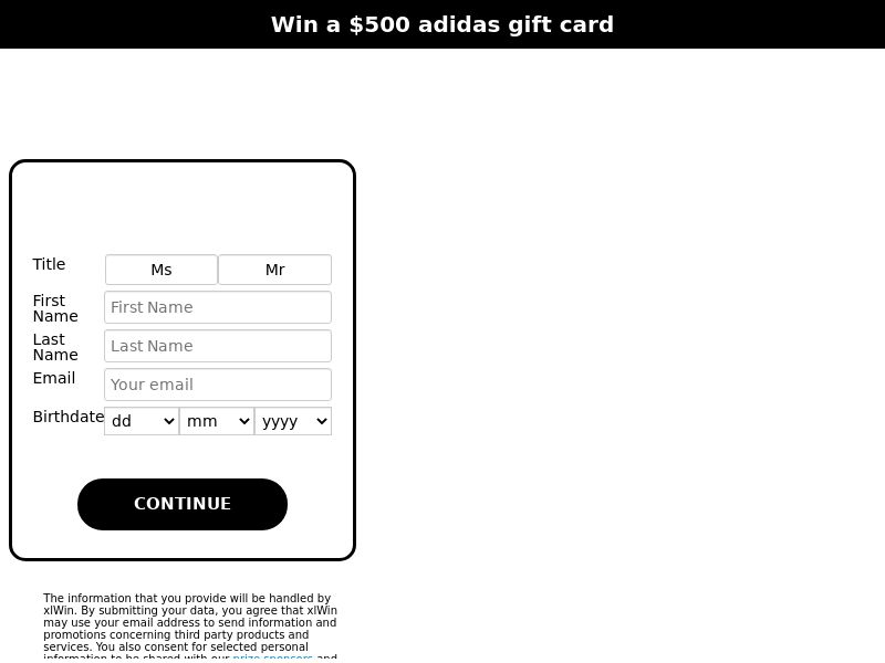 xlWin - Win a $500 Gift Card From Adidas [AU]