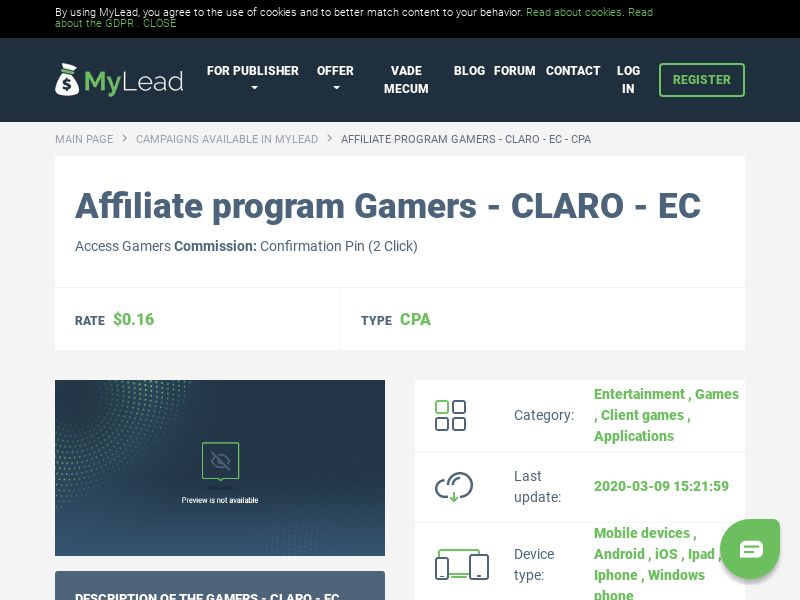 Gamers - CLARO - EC (EC), [CPA], Entertainment, Games, Client games, Applications, Confirm PIN, Download, game, app, mobile