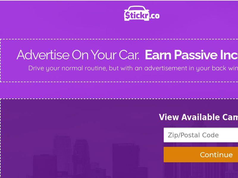 Stickr.co: Advertise On Your Car. Earn Passive Income