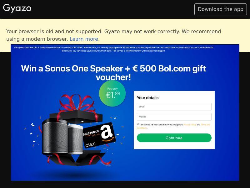 Win a Sonos Speaker (CA) (Trial)