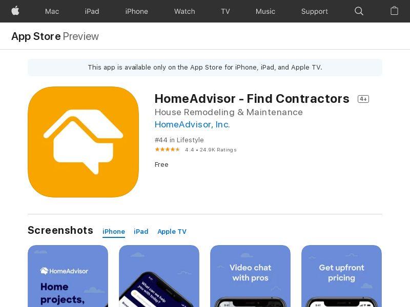HomeAdvisor: Find a Contractor - US - iOS - IDFA mandatory