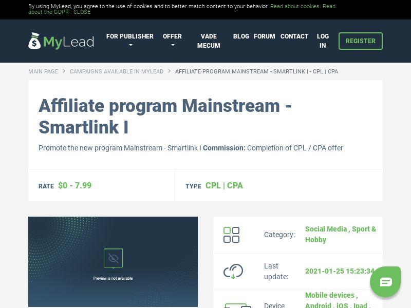 Mainstream - Smartlink I (MultiGeo), [CPL | CPA], Social Media, Sport & Hobby
