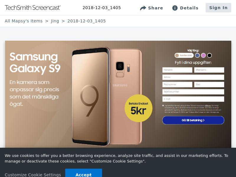Sleek Sunrise Gold Samsung S9 (Sweepstake) (CC Trial) - Sweden [SE]