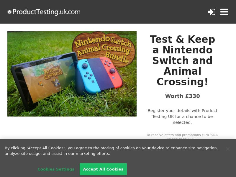 Product Testing - Test And Win A Nintendo Switch with Animal Crossing Bundle [UK]