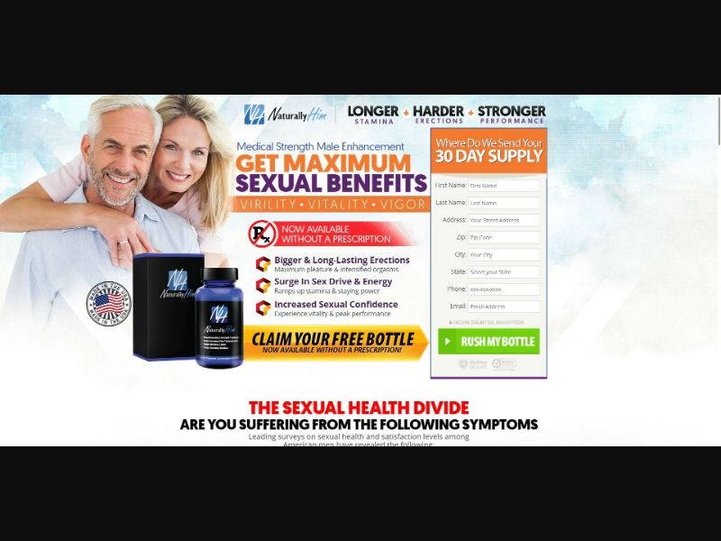 Naturally Him - Male Enhancement - Trial - [US] - with 1-Click Upsell [Step1 $32.30 / Upsell $30.60]