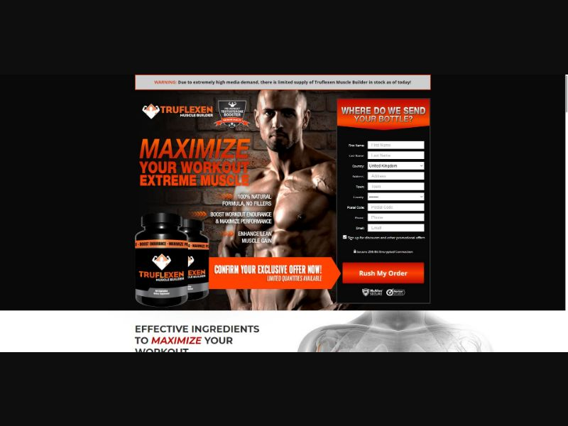 Truflexen Muscle Builder - Muscle Building - Trial - [UK] - with 1-Click Upsell [Step1 $27.20 / Upsell $25.50]