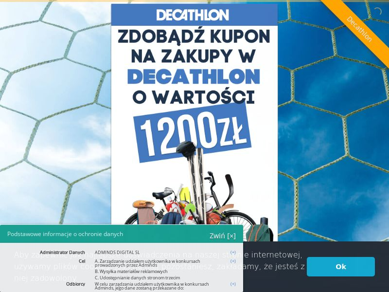Decathlon 1200 zł voucher - PL (PL), [CPL], Fashion, Clothes, Shoes, Lotteries and Contests, Sport & Hobby, Single Opt-In, shop, gift, paypal, survey, gift, gift card, free, amazon